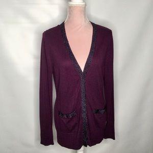 Calvin Klein dark purple cardigan.